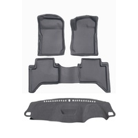 Combo Sandgrabba Mats Front and Rear Plus Dash Mat Landcruiser 70 78 79 Dual Cab 2012-2019 Grey